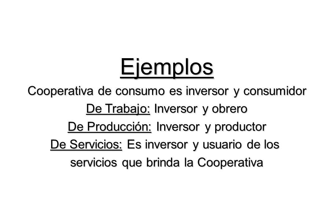 Ejemplos Cooperativa de consumo es inversor y consumidor