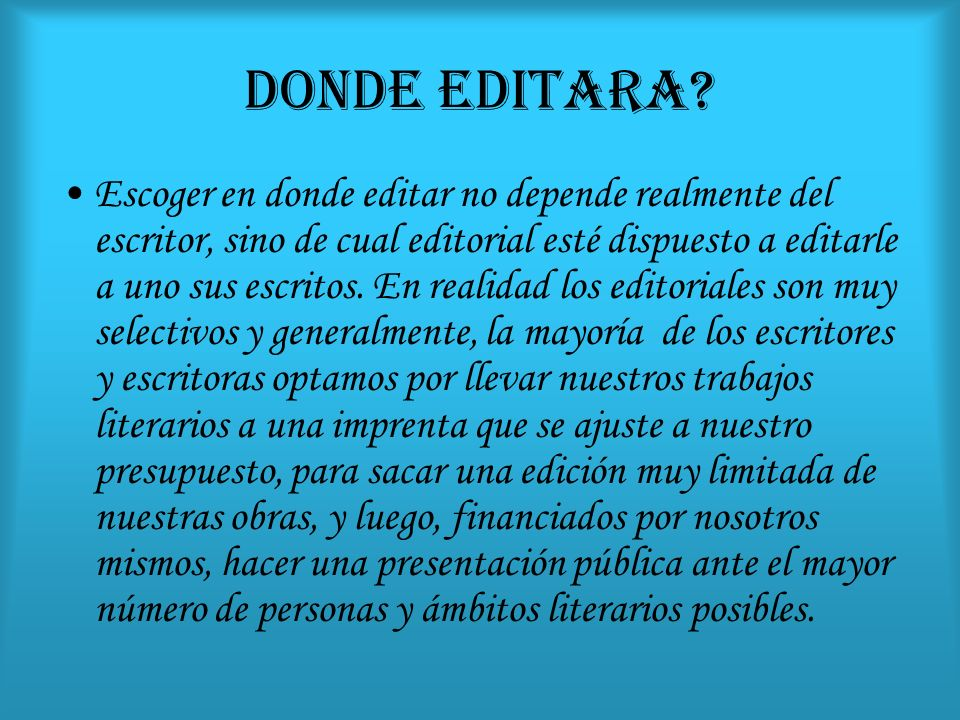 DONDE EDITARA