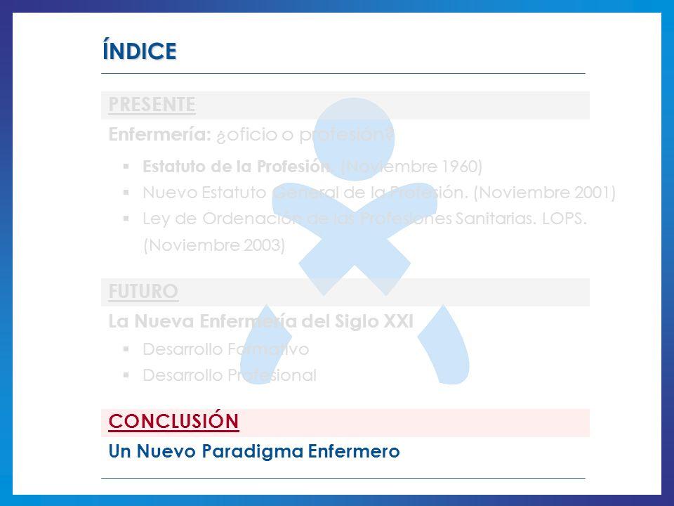 ÍNDICE PRESENTE FUTURO CONCLUSIÓN Enfermería: ¿oficio o profesión