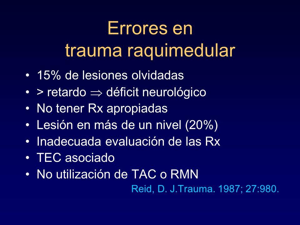Errores en trauma raquimedular