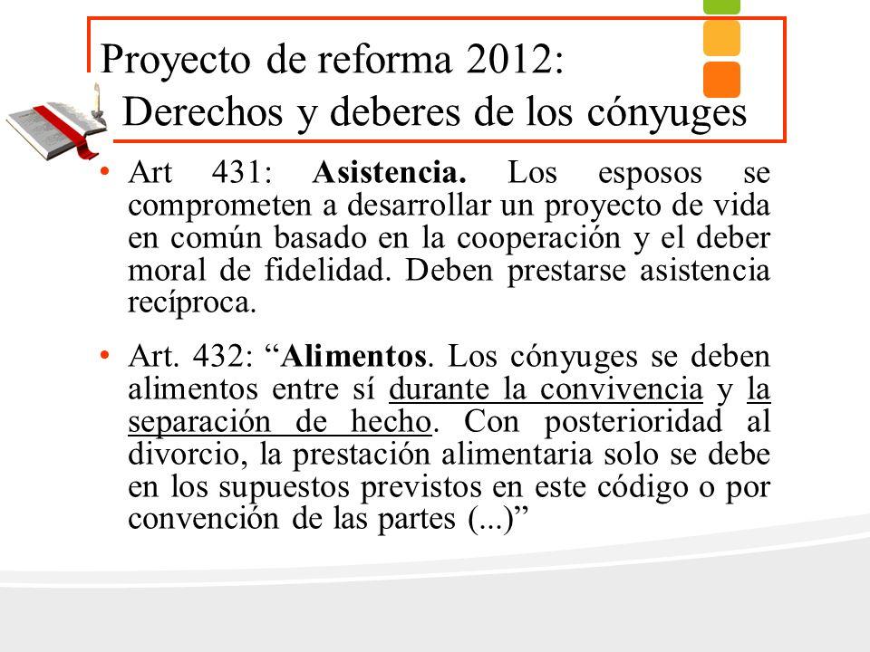 Proyecto de reforma 2012: Derechos y deberes de los cónyuges