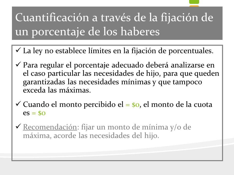 Cuantificación a través de la fijación de un porcentaje de los haberes