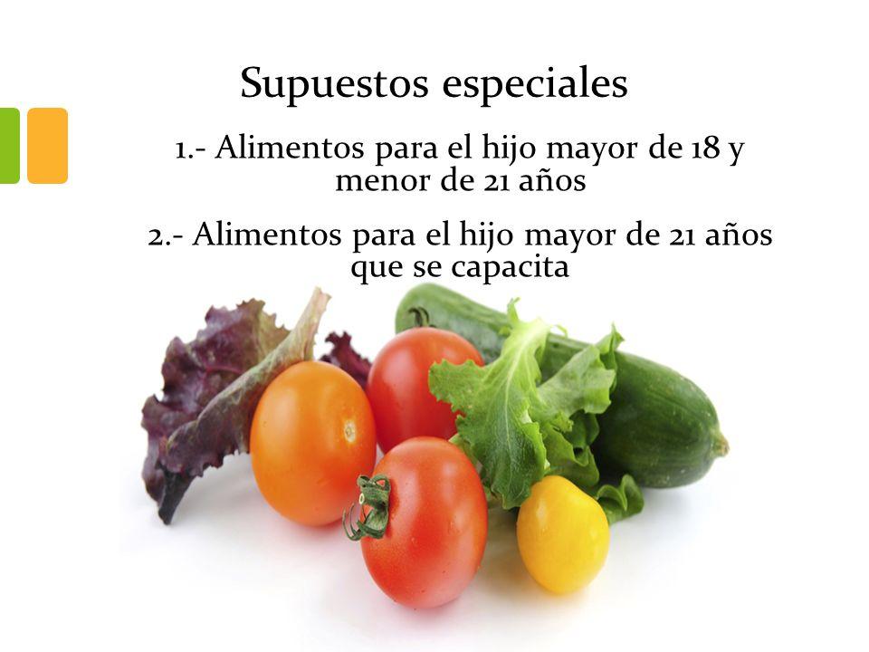 Supuestos especiales 1.- Alimentos para el hijo mayor de 18 y menor de 21 años.