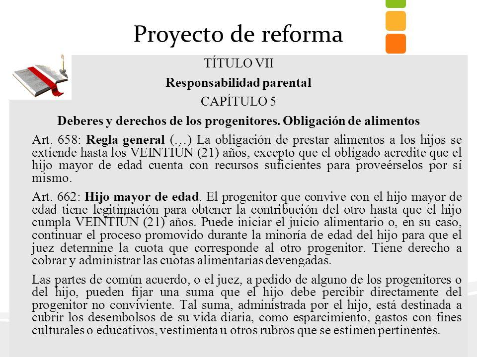 Proyecto de reforma TÍTULO VII Responsabilidad parental CAPÍTULO 5