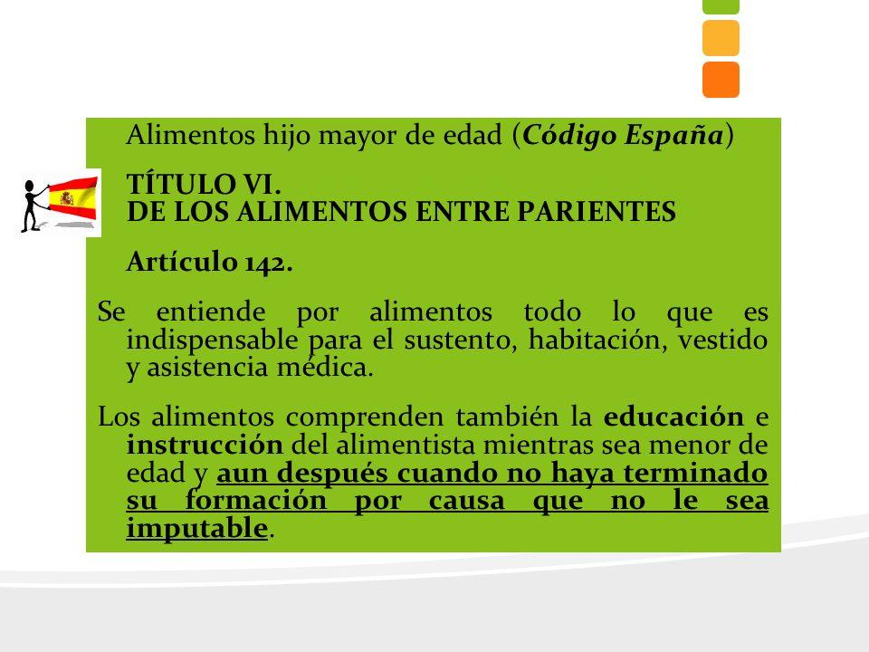 Alimentos hijo mayor de edad (Código España)