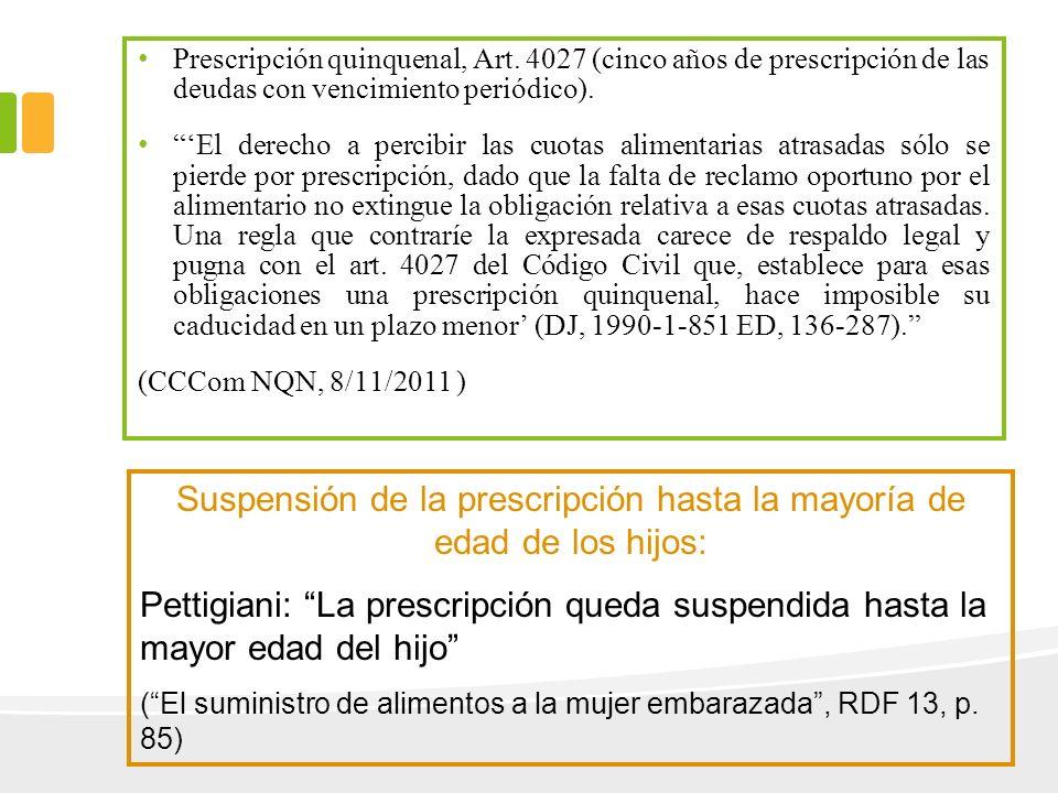 Suspensión de la prescripción hasta la mayoría de edad de los hijos:
