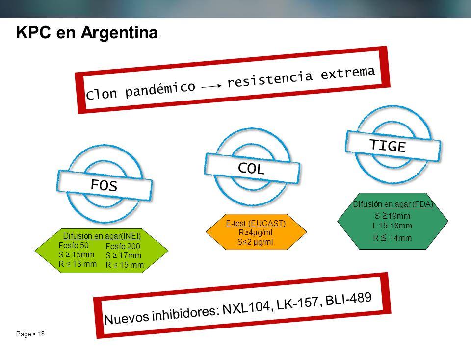 KPC en Argentina TIGE COL FOS Clon pandémico resistencia extrema
