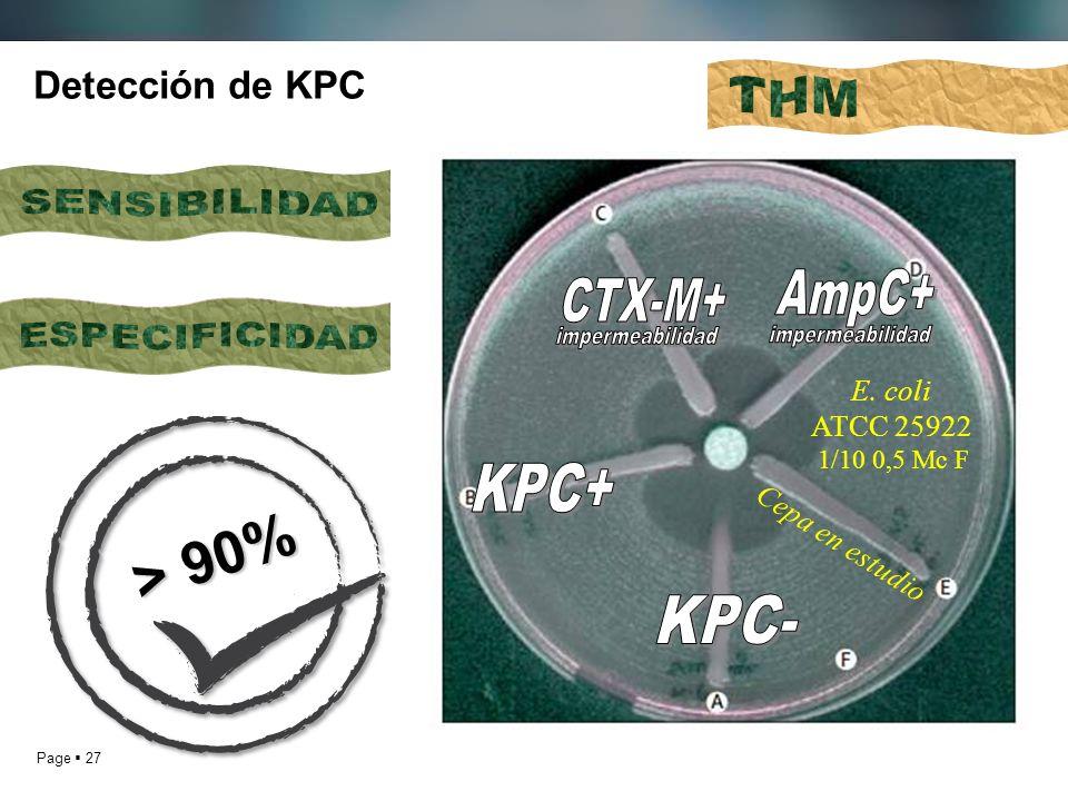> 90% THM SENSIBILIDAD AmpC+ CTX-M+ ESPECIFICIDAD impermeabilidad