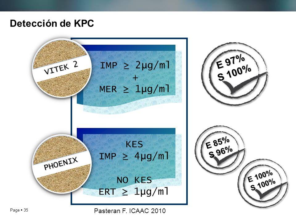 Detección de KPC E 97% S 100% IMP ≥ 2µg/ml + MER ≥ 1µg/ml KES