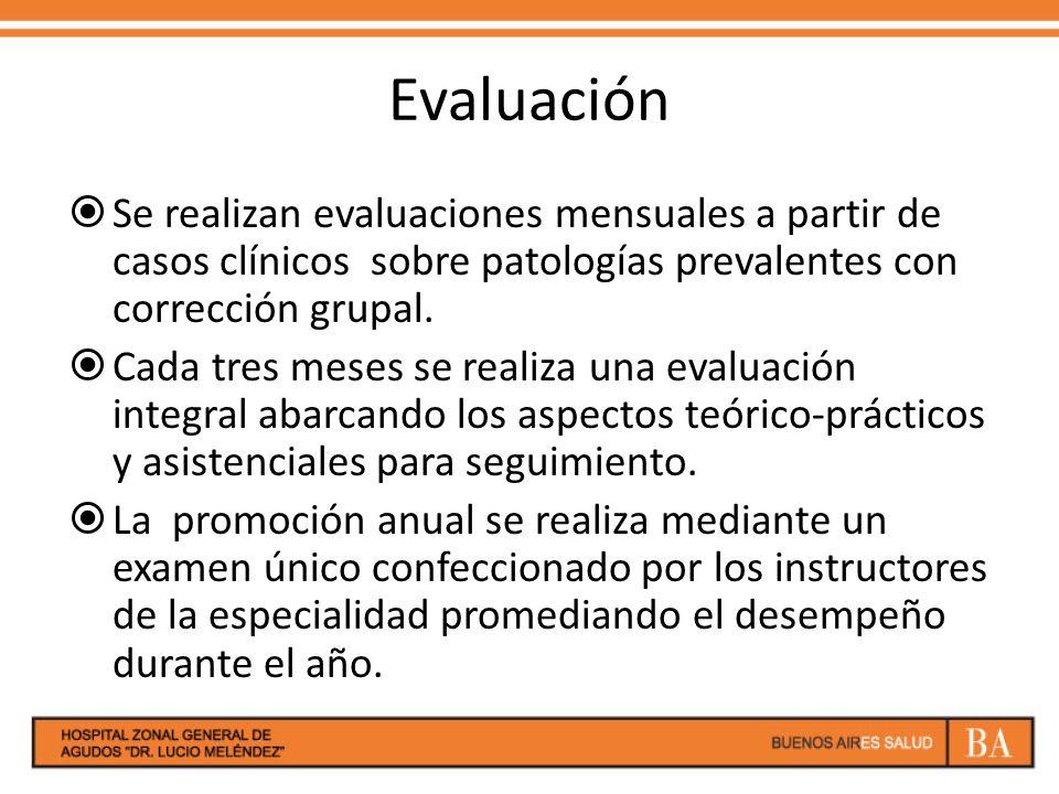 Evaluación Se realizan evaluaciones mensuales a partir de casos clínicos sobre patologías prevalentes con corrección grupal.