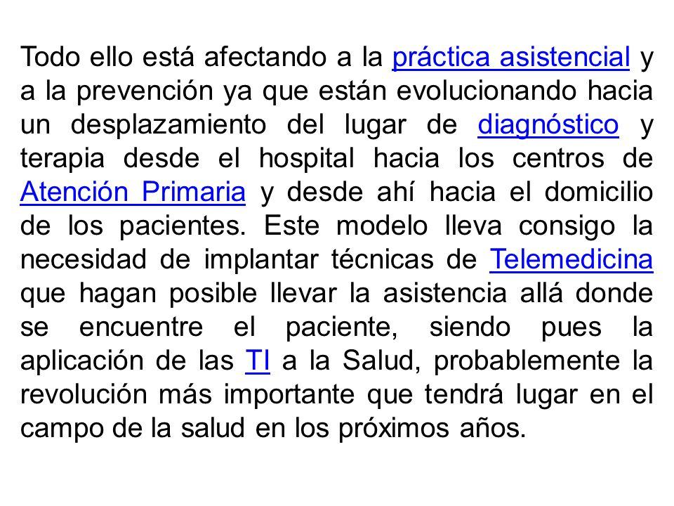Todo ello está afectando a la práctica asistencial y a la prevención ya que están evolucionando hacia un desplazamiento del lugar de diagnóstico y terapia desde el hospital hacia los centros de Atención Primaria y desde ahí hacia el domicilio de los pacientes.