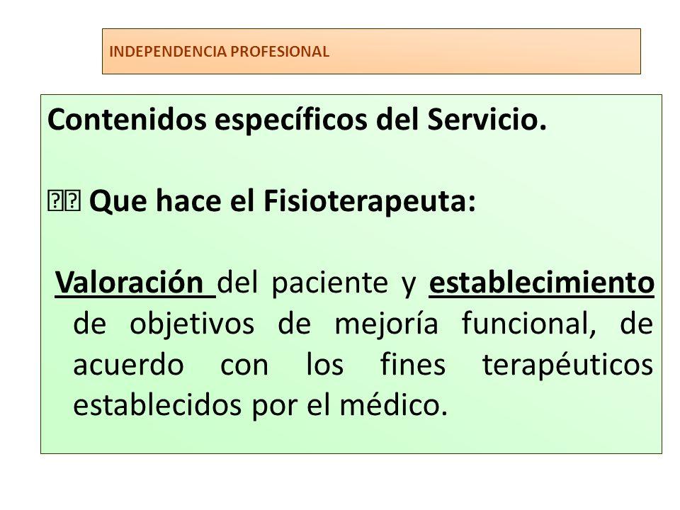 Contenidos específicos del Servicio.  Que hace el Fisioterapeuta: