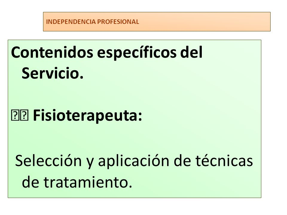 Selección y aplicación de técnicas de tratamiento.