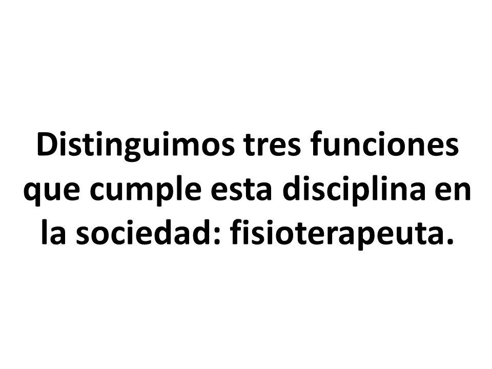 Distinguimos tres funciones que cumple esta disciplina en la sociedad: fisioterapeuta.
