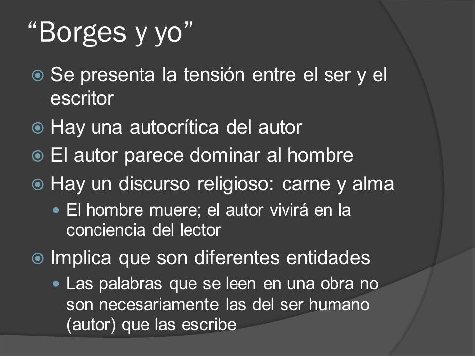 Borges y yo Se presenta la tensión entre el ser y el escritor