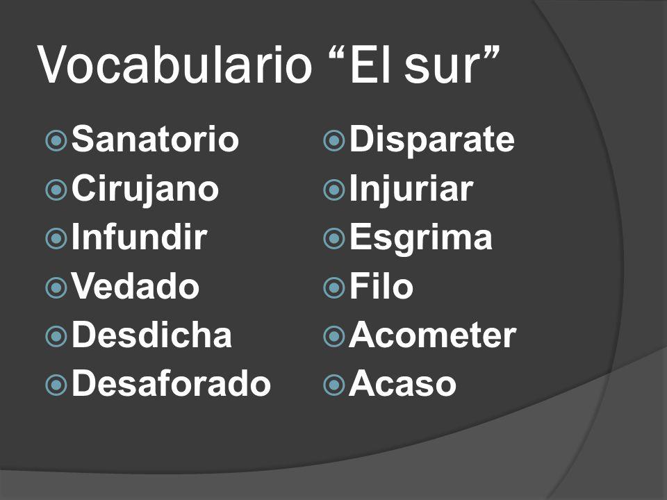 Vocabulario El sur Sanatorio Cirujano Infundir Vedado Desdicha