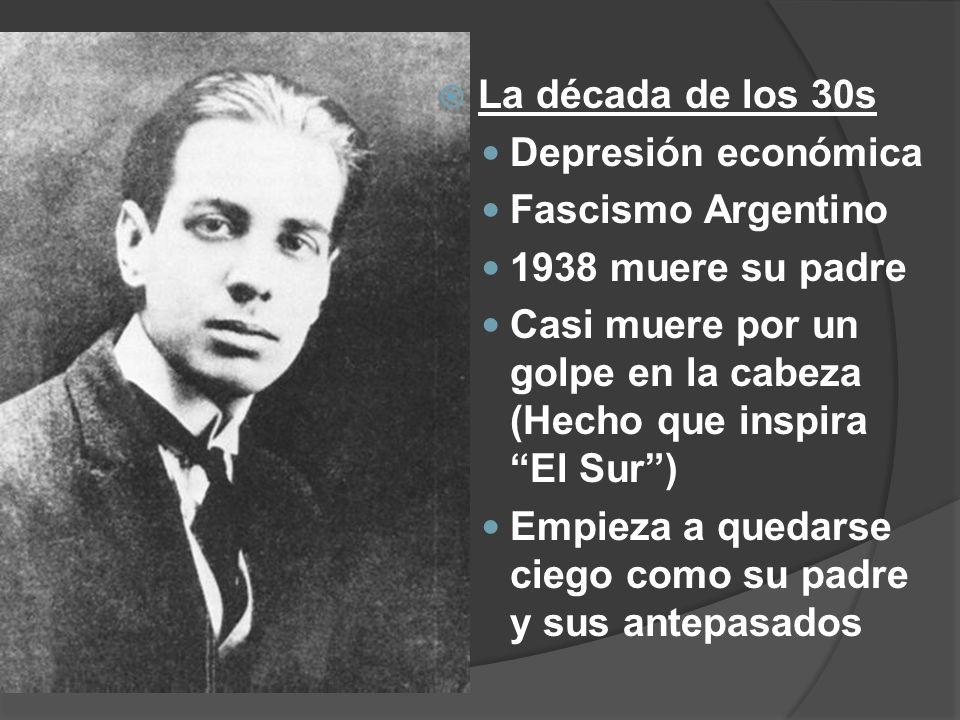 La década de los 30s Depresión económica. Fascismo Argentino. 1938 muere su padre.