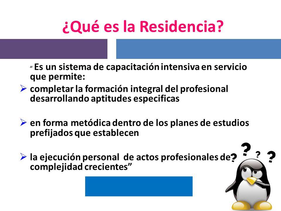 ¿Qué es la Residencia Es un sistema de capacitación intensiva en servicio que permite: