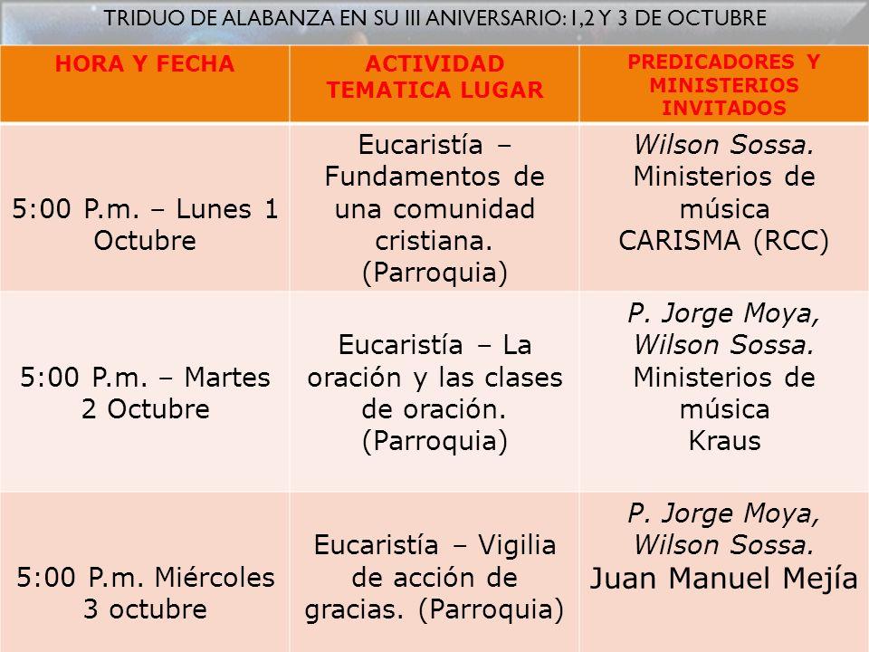 ACTIVIDAD TEMATICA LUGAR PREDICADORES Y MINISTERIOS INVITADOS