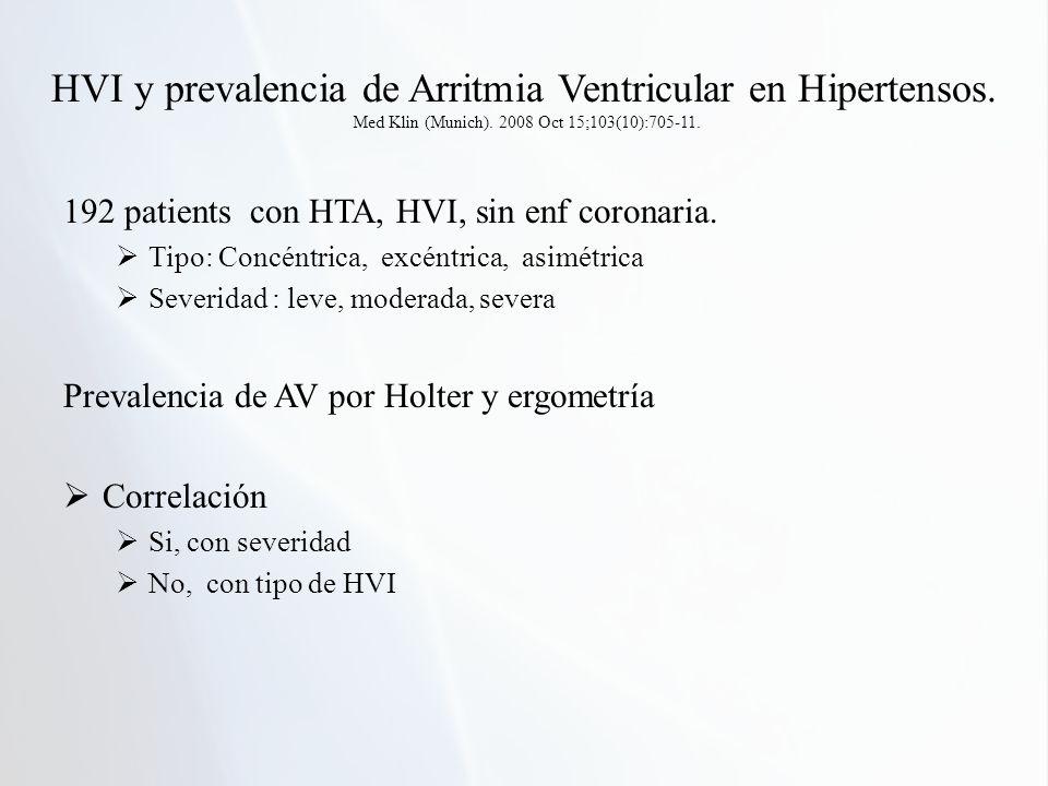 HVI y prevalencia de Arritmia Ventricular en Hipertensos