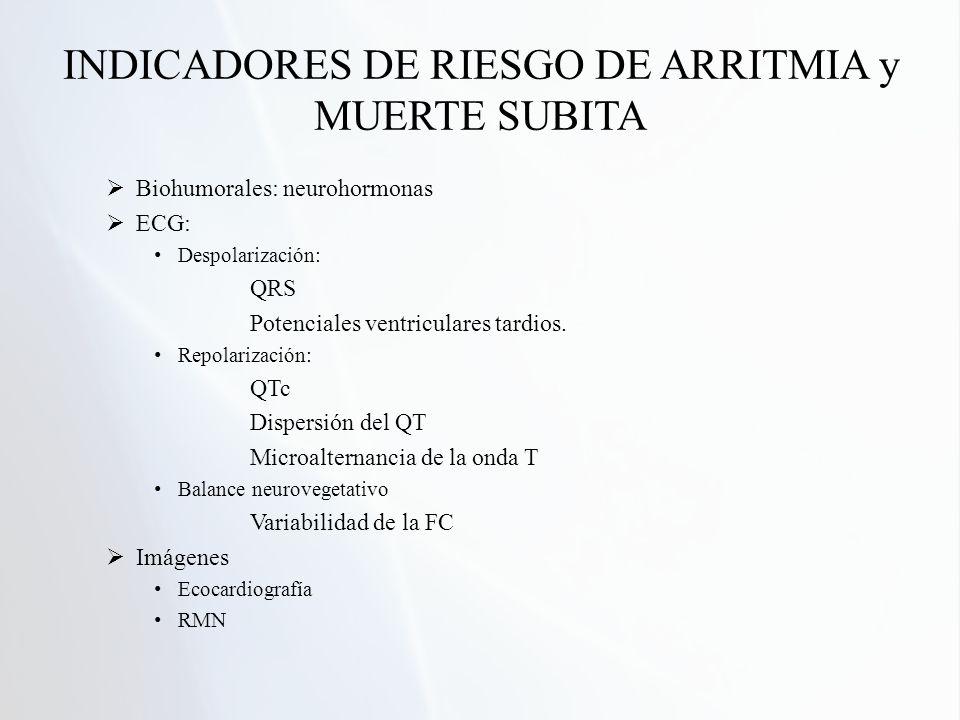 INDICADORES DE RIESGO DE ARRITMIA y MUERTE SUBITA