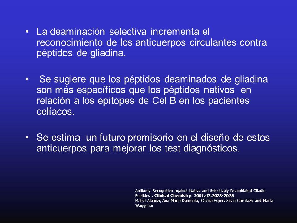 La deaminación selectiva incrementa el reconocimiento de los anticuerpos circulantes contra péptidos de gliadina.