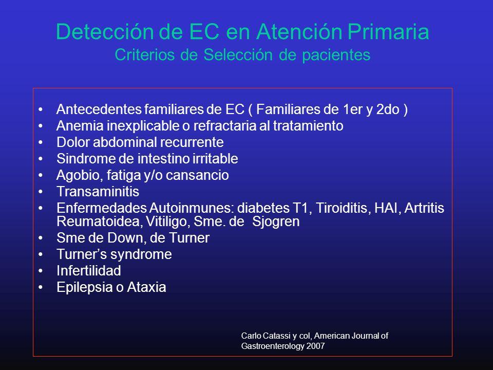 Detección de EC en Atención Primaria Criterios de Selección de pacientes