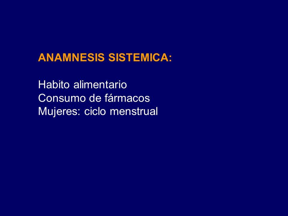 ANAMNESIS SISTEMICA: Habito alimentario Consumo de fármacos Mujeres: ciclo menstrual