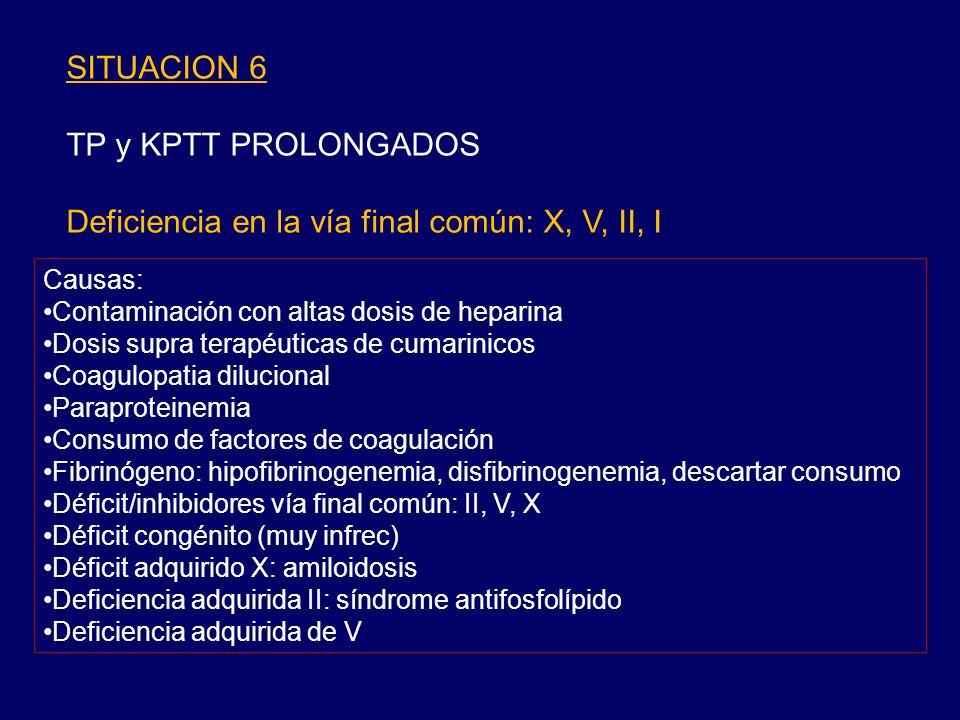 Deficiencia en la vía final común: X, V, II, I
