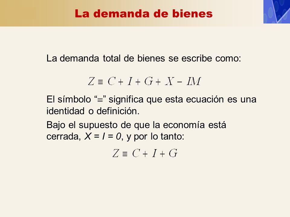 La demanda de bienes La demanda total de bienes se escribe como: