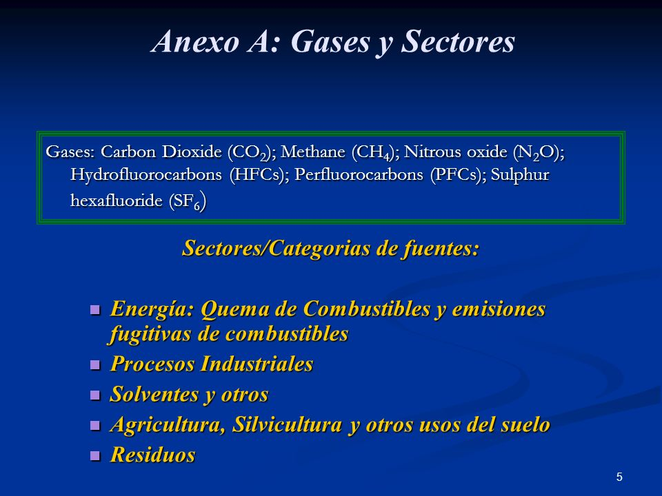 Anexo A: Gases y Sectores