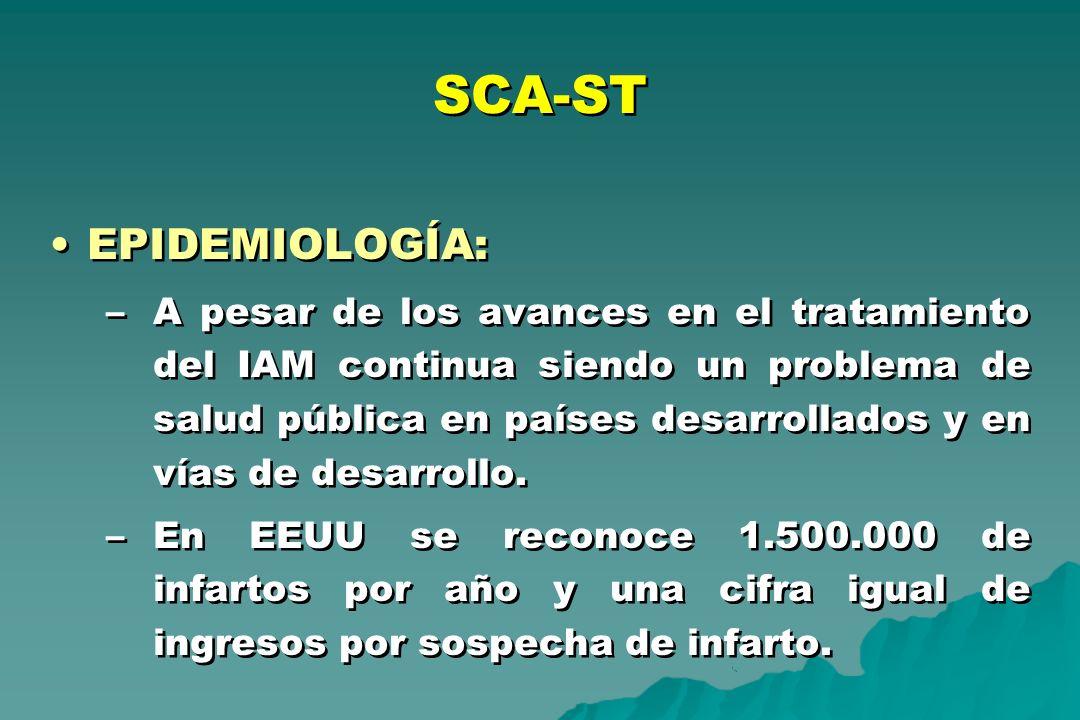 SCA-ST EPIDEMIOLOGÍA: