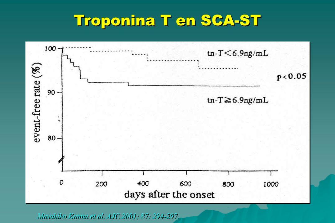 Troponina T en SCA-ST Masahiko Kanna et al. AJC 2001; 87: 294-297.