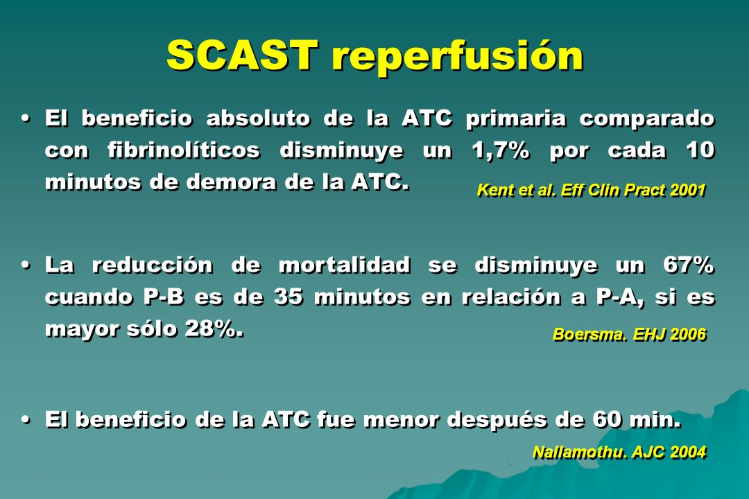 SCAST reperfusión El beneficio absoluto de la ATC primaria comparado con fibrinolíticos disminuye un 1,7% por cada 10 minutos de demora de la ATC.
