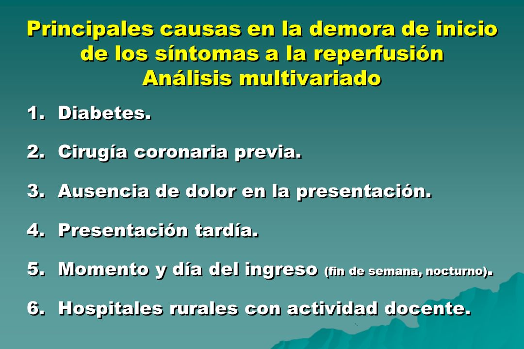 Principales causas en la demora de inicio de los síntomas a la reperfusión Análisis multivariado
