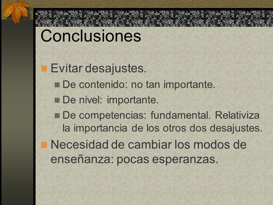 Conclusiones Evitar desajustes.