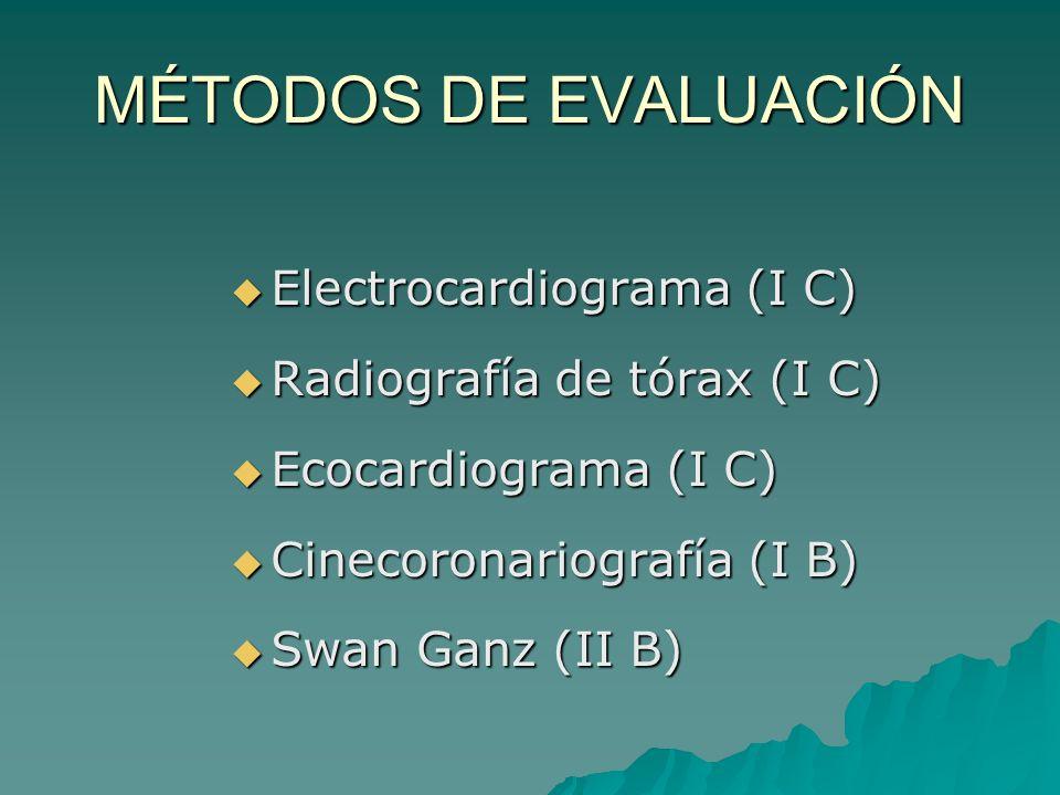 MÉTODOS DE EVALUACIÓN Electrocardiograma (I C)