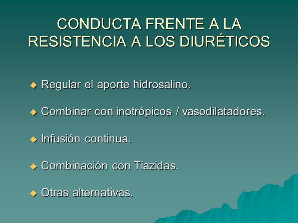 CONDUCTA FRENTE A LA RESISTENCIA A LOS DIURÉTICOS