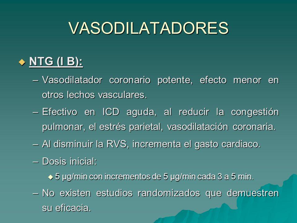 VASODILATADORES NTG (I B):