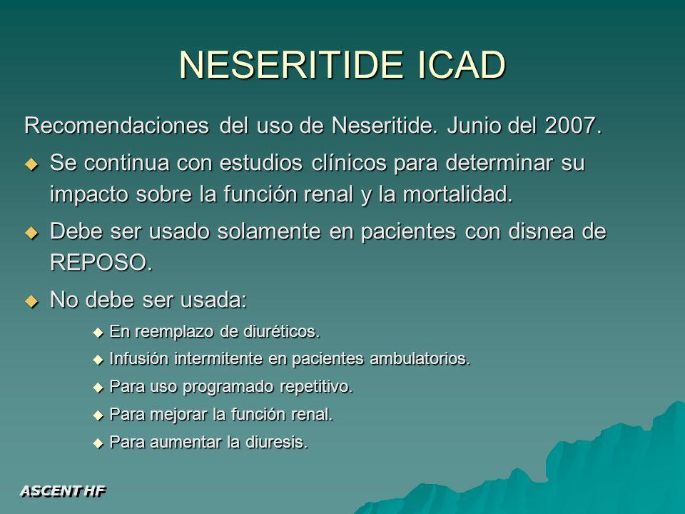 NESERITIDE ICAD Recomendaciones del uso de Neseritide. Junio del 2007.