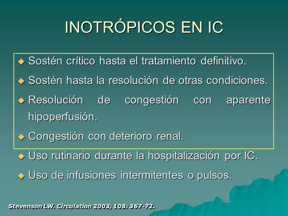 INOTRÓPICOS EN IC Sostén crítico hasta el tratamiento definitivo.