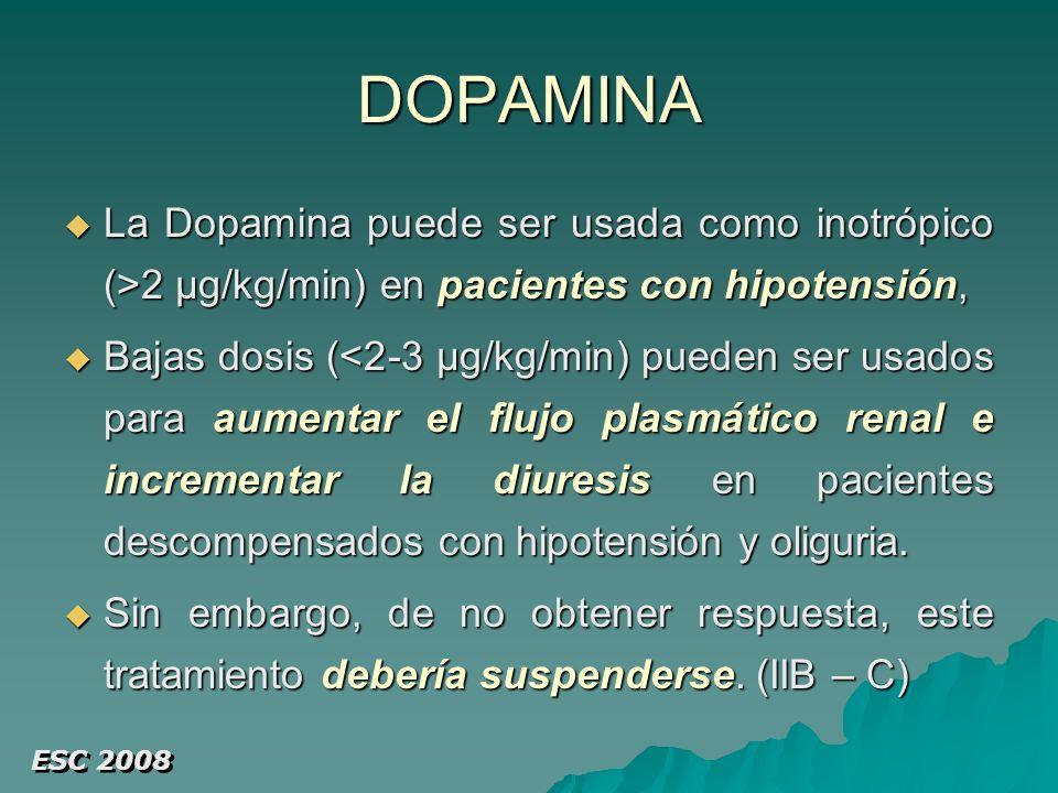 DOPAMINA La Dopamina puede ser usada como inotrópico (>2 µg/kg/min) en pacientes con hipotensión,