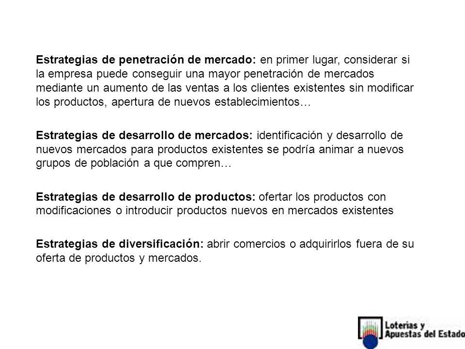Estrategias de penetración de mercado: en primer lugar, considerar si la empresa puede conseguir una mayor penetración de mercados mediante un aumento de las ventas a los clientes existentes sin modificar los productos, apertura de nuevos establecimientos…