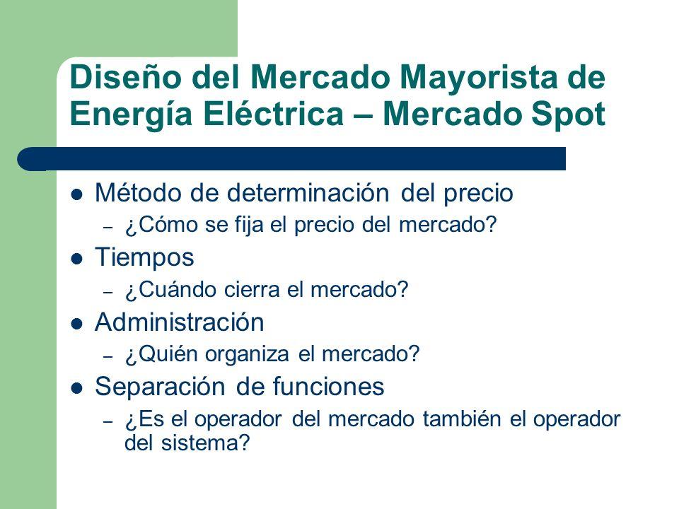 Diseño del Mercado Mayorista de Energía Eléctrica – Mercado Spot