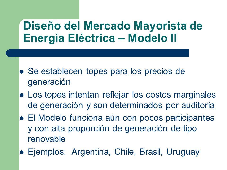 Diseño del Mercado Mayorista de Energía Eléctrica – Modelo II