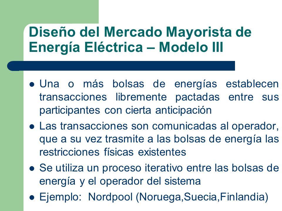 Diseño del Mercado Mayorista de Energía Eléctrica – Modelo III