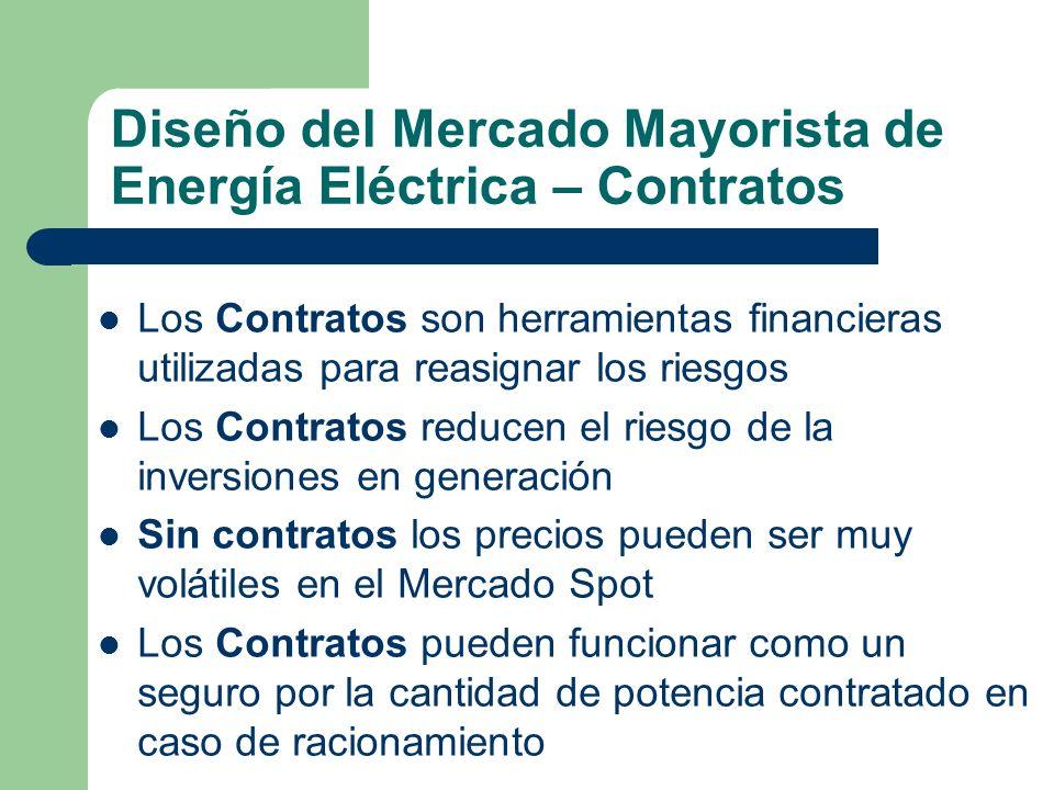 Diseño del Mercado Mayorista de Energía Eléctrica – Contratos