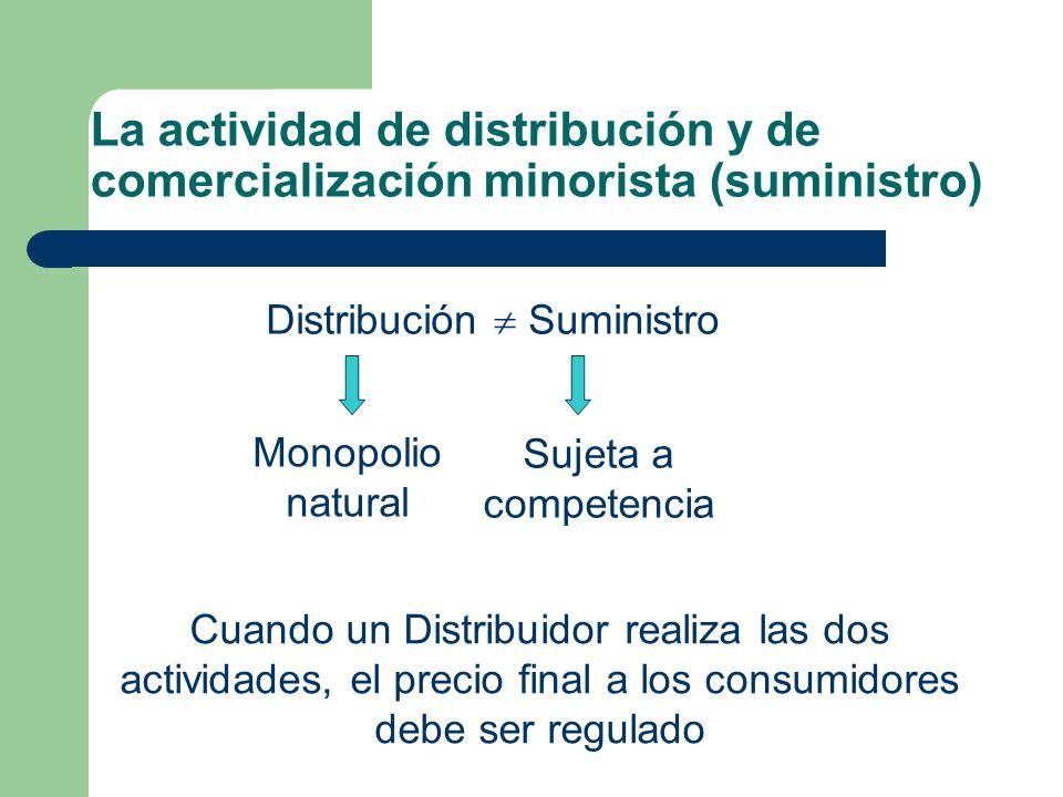 La actividad de distribución y de comercialización minorista (suministro)