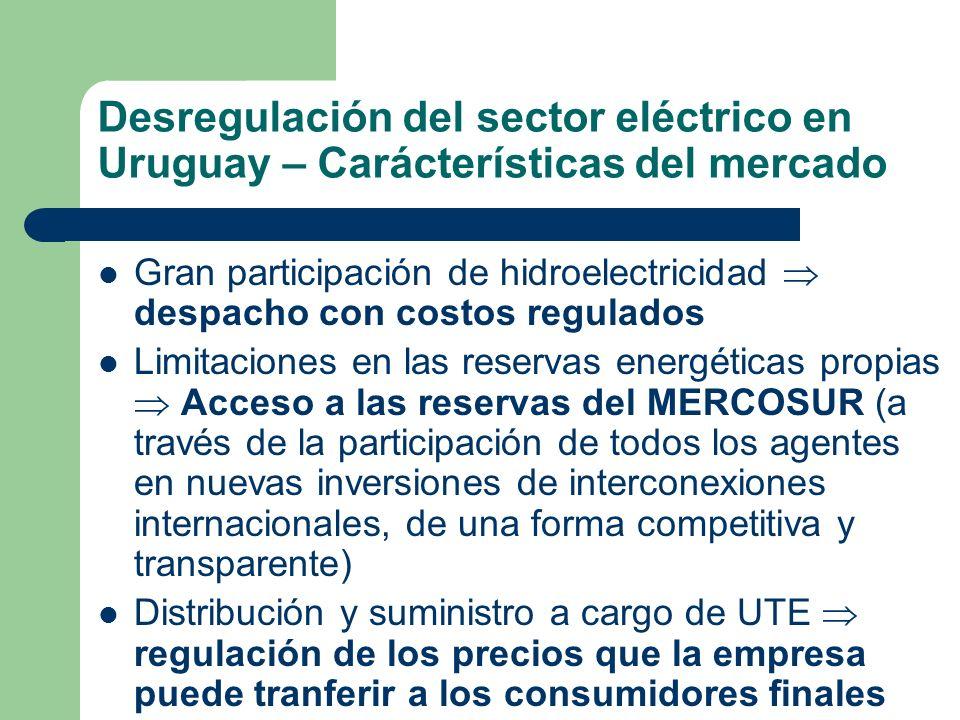 Desregulación del sector eléctrico en Uruguay – Carácterísticas del mercado