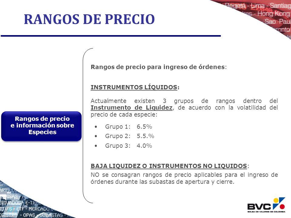 RANGOS DE PRECIO Rangos de precio para ingreso de órdenes: